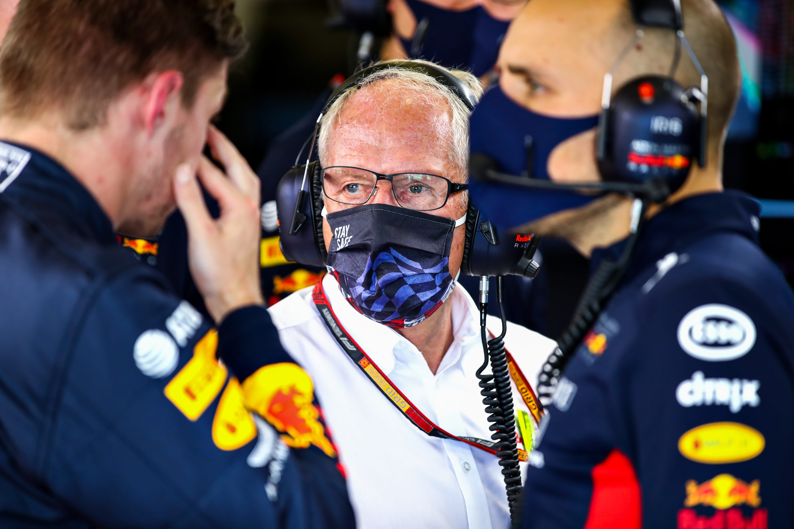 NORTHAMPTON, ENGLAND - AUGUST 08: Red Bull Racing Team Consultant Dr Helmut Marko looks on in the garage during final practice for the F1 70th Anniversary Grand Prix at Silverstone on August 08, 2020 in Northampton, England. (Photo by Mark Thompson/Getty Images) // Getty Images / Red Bull Content Pool  // AP-24VKTC6F11W11 // Usage for editorial use only //
