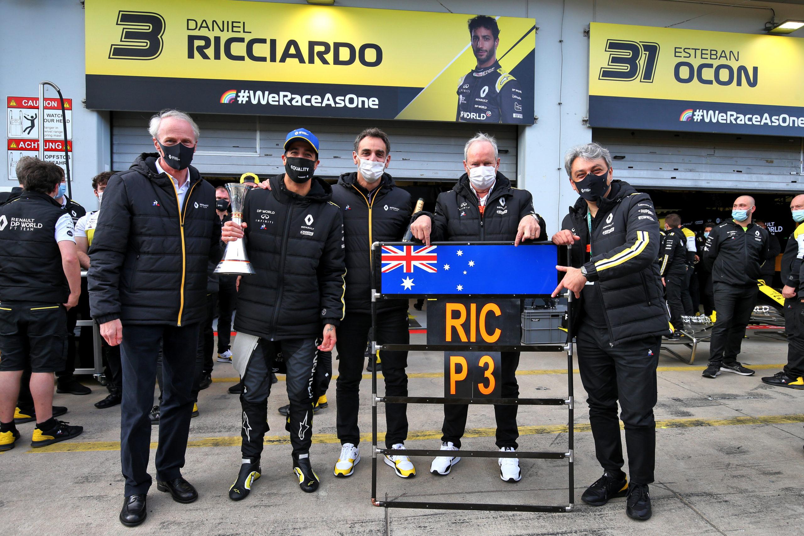 Renault F1 Team celebrates third position for Daniel Ricciardo (AUS) Renault F1 Team (L to R): Jean-Dominique Senard (FRA) Renault Chairman; Daniel Ricciardo (AUS) Renault F1 Team; Cyril Abiteboul (FRA) Renault Sport F1 Managing Director; Jerome Stoll (FRA) Renault Sport F1 President; Luca de Meo (ITA) Groupe Renault Chief Executive Officer. Eifel Grand Prix, Sunday 11th October 2020. Nurbugring, Germany.