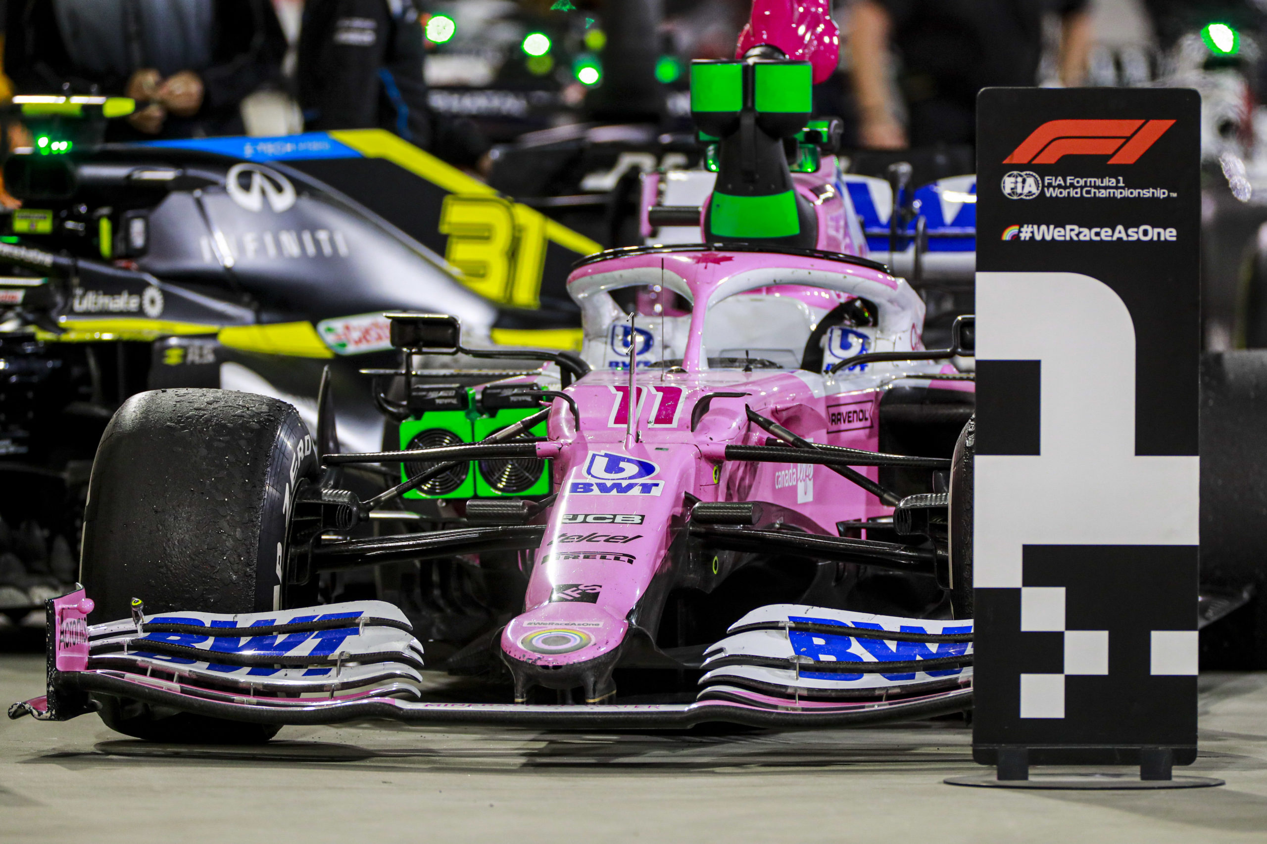 The car of Sergio Perez, Racing Point RP20, 1st position, in Parc Ferme