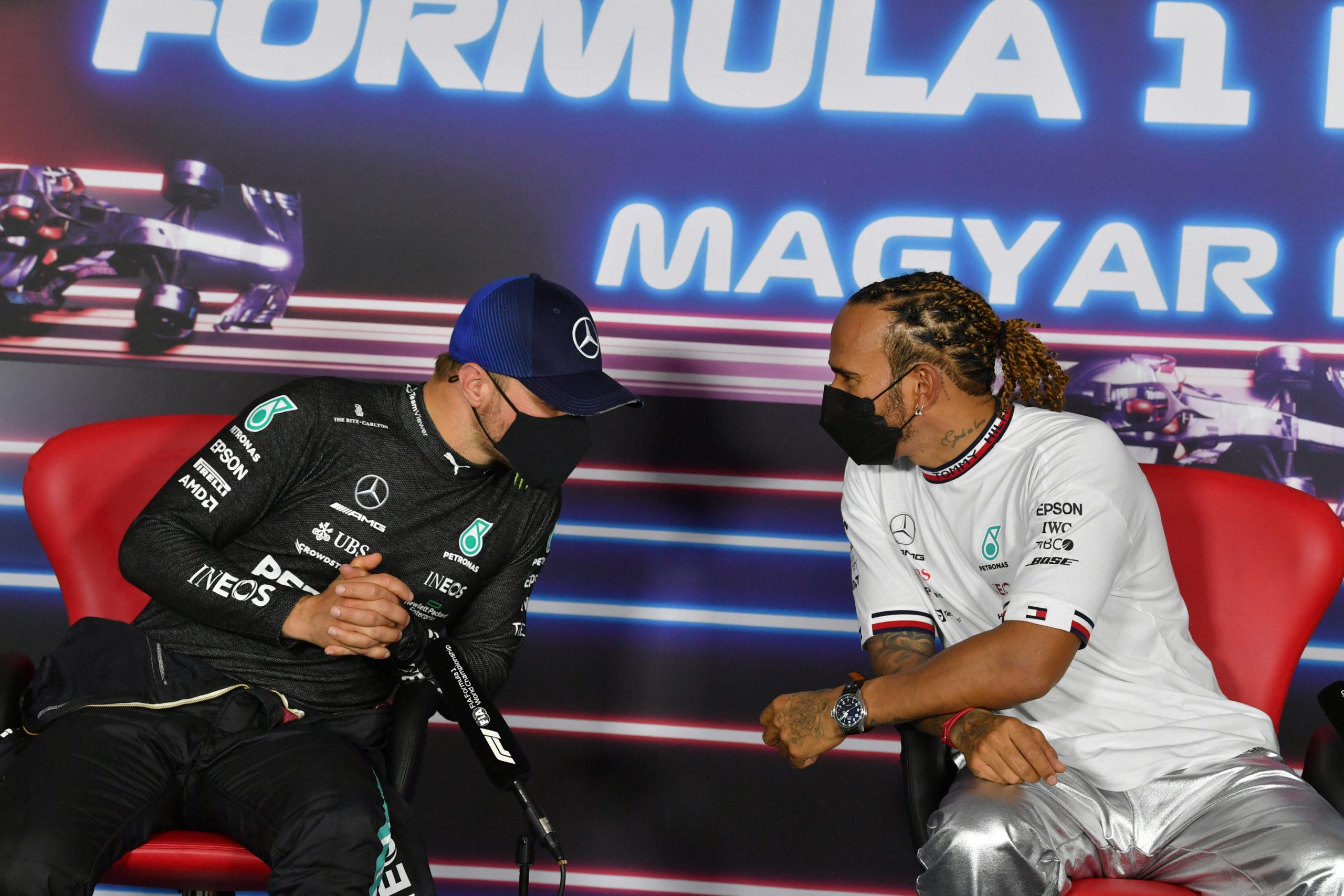 Lewis Hamilton and Valtteri Bottas, Mercedes, 2021 Hungarian Grand Prix, Saturday - LAT Images