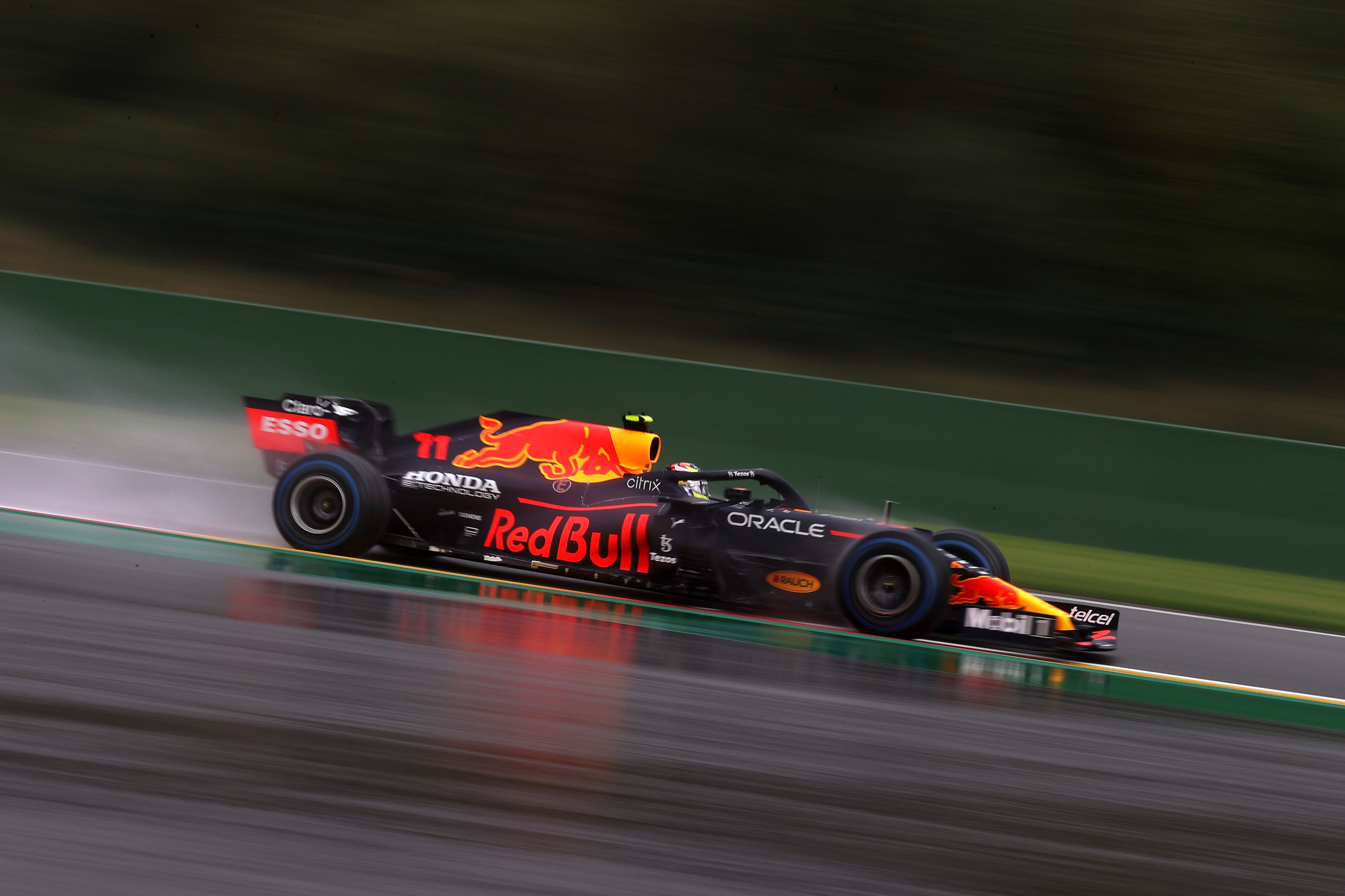 SPA, BELGIUM - AUGUST 28: Sergio Perez of Mexico driving the (11) Red Bull Racing RB16B Honda during qualifying ahead of the F1 Grand Prix of Belgium at Circuit de Spa-Francorchamps on August 28, 2021 in Spa, Belgium. (Photo by Lars Baron/Getty Images) // Getty Images / Red Bull Content Pool  // SI202108280372 // Usage for editorial use only //