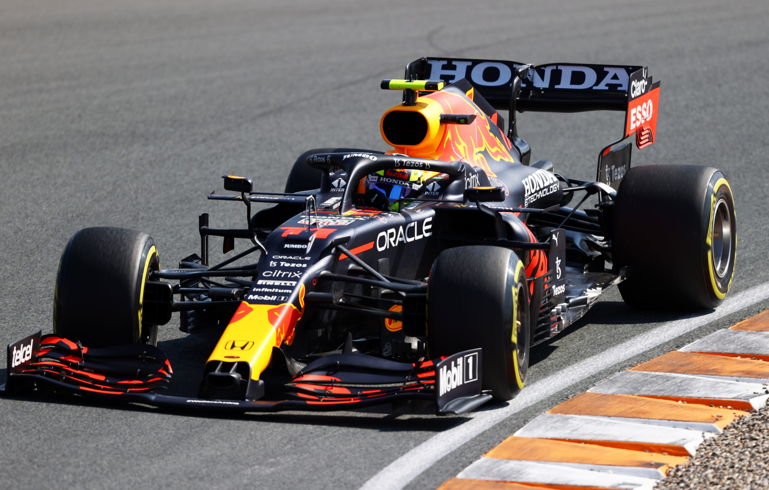 ZANDVOORT, NETHERLANDS - SEPTEMBER 04: Sergio Perez of Mexico driving the (11) Red Bull Racing RB16B Honda during final practice ahead of the F1 Grand Prix of The Netherlands at Circuit Zandvoort on September 04, 2021 in Zandvoort, Netherlands. (Photo by Bryn Lennon/Getty Images) // Getty Images / Red Bull Content Pool  // SI202109040235 // Usage for editorial use only //