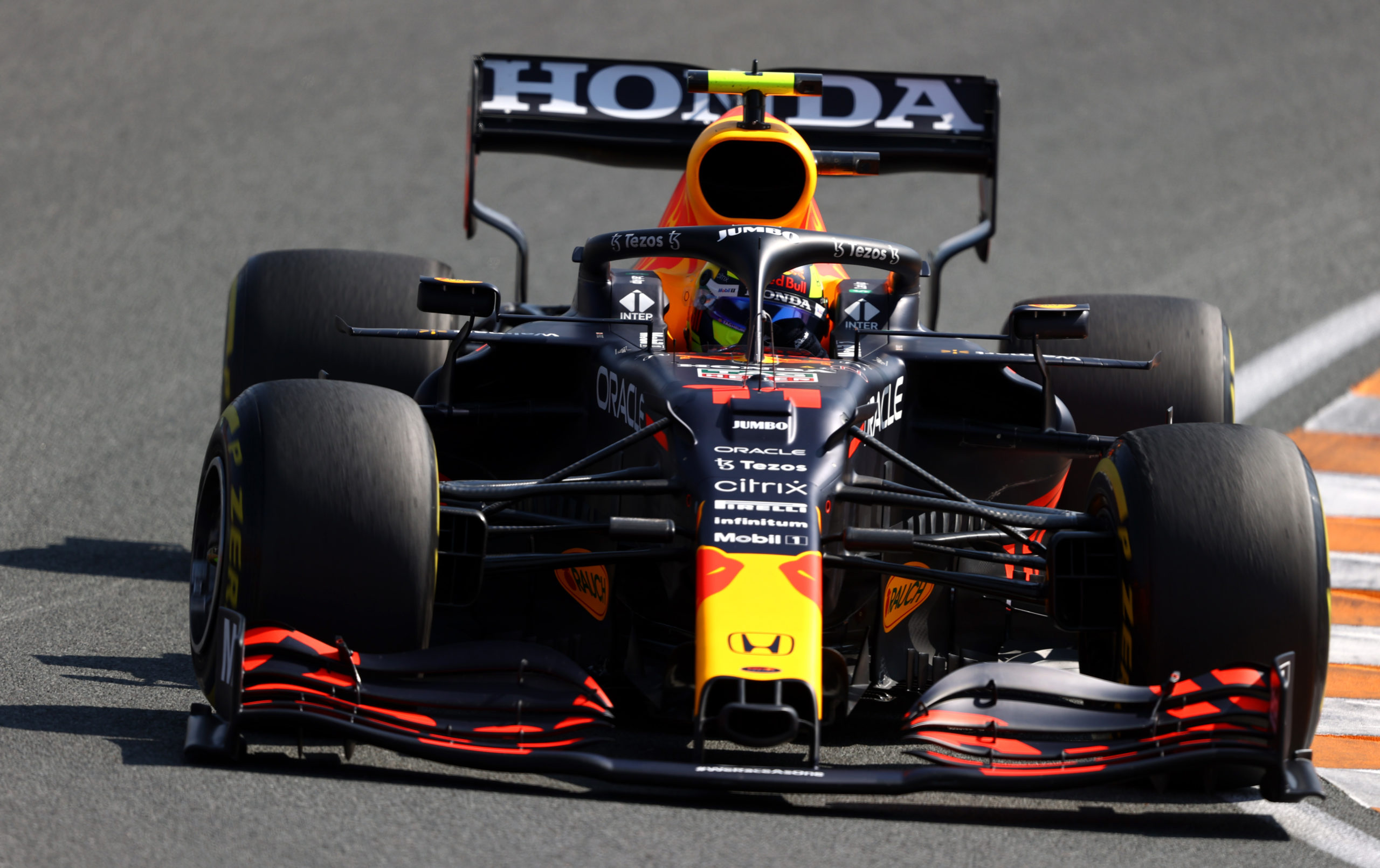 ZANDVOORT, NETHERLANDS - SEPTEMBER 04: Sergio Perez of Mexico driving the (11) Red Bull Racing RB16B Honda during final practice ahead of the F1 Grand Prix of The Netherlands at Circuit Zandvoort on September 04, 2021 in Zandvoort, Netherlands. (Photo by Bryn Lennon/Getty Images) // Getty Images / Red Bull Content Pool  // SI202109040240 // Usage for editorial use only //