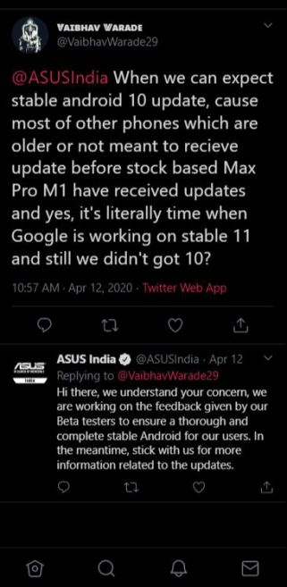 android 10 status asus