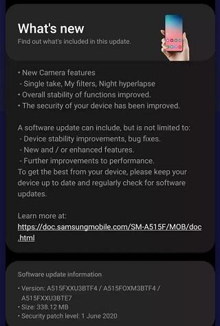 Samsung Galaxy A51 June OTA