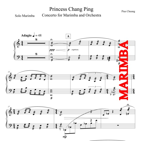 Princess Chang Ping, Concerto for Marimba and Orchestra - Piano Reduction - Marimba