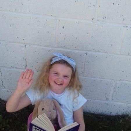 "Emma 1st Ms Ward ""Enjoying DEAR time with bunny in the sunshine"""