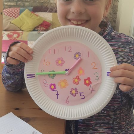 """Hannah JI Ms McCarthy """"Learning about time, Hannah makes her own clock"""""""