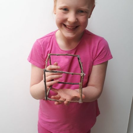 """Sophia 2nd Mr Neary """"I am making a 3D cube out of sticks I collected from the park. Each stick is 10cm and there were 12 sticks"""""""