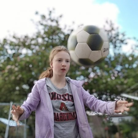 """Heather 6th Ms O'Reilly """"Heather playing football in the garden (active week) Heather took the photo herself"""""""