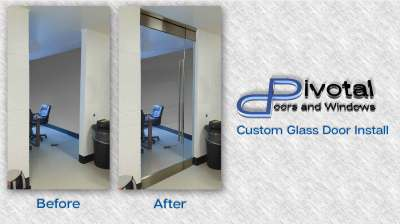 Custom Glass office door install