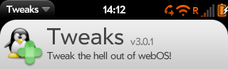 The Tweaks control panel app