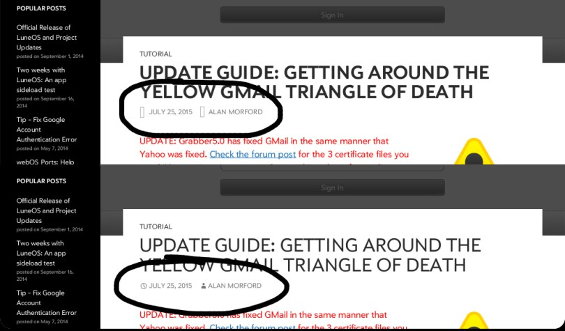 Above: The pivotCE website loaded on webOS. Below, the same site on LuneOS. Notice the missing icons.
