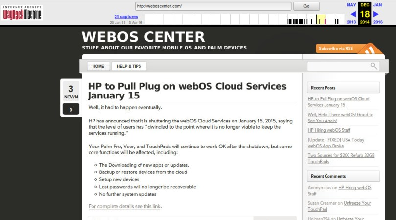 A screen capture of webOS Center at the internet archive.