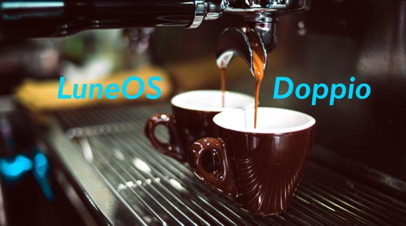 A coffee machine fills twin cups: Doppio
