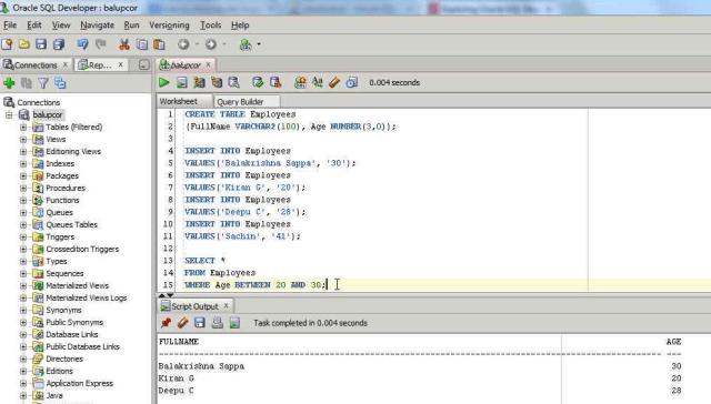 BETWEEN Operator in SQL