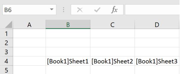 List of Sheet Names output