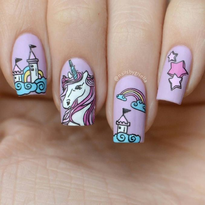 Bright nail art with a unicorn: stylish ideas for manicure in the photo and how to do it 24