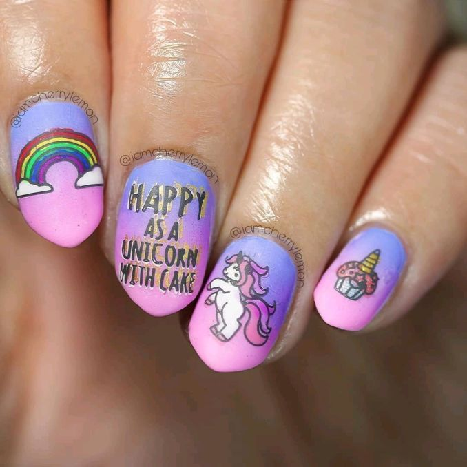 Bright nail art with a unicorn: stylish ideas for manicure in the photo and how to do it 41
