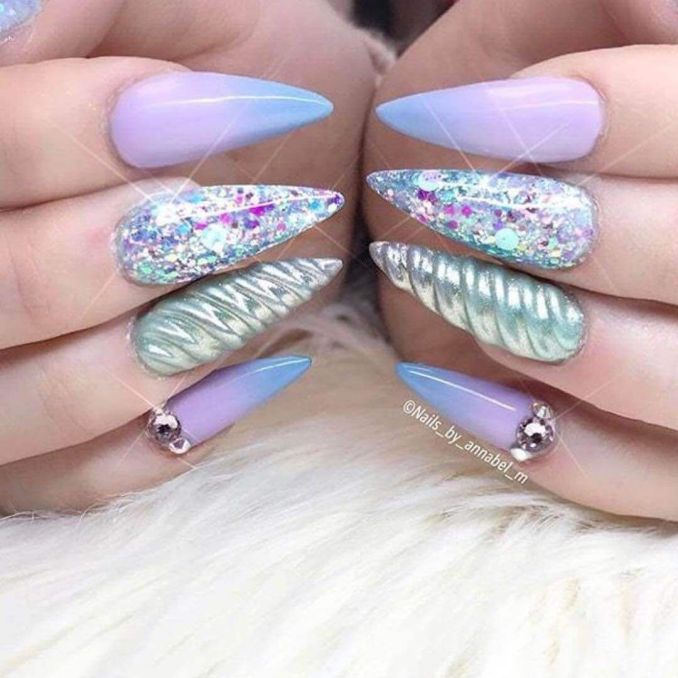 Bright nail art with a unicorn: stylish ideas for manicure in the photo and how to do it 5