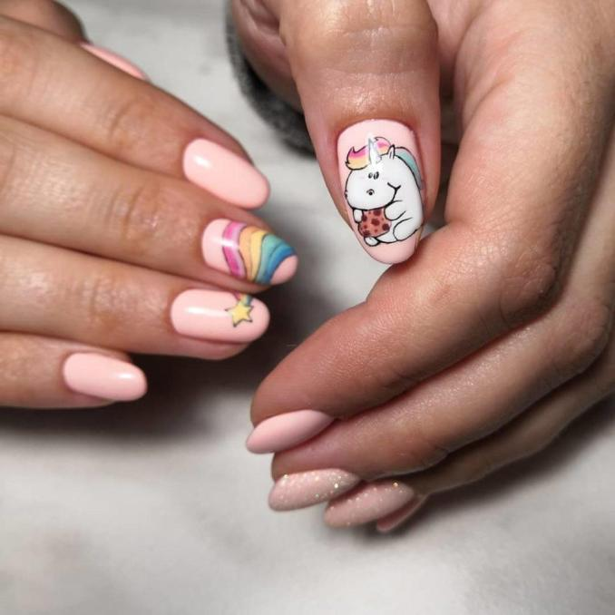 Bright nail art with a unicorn: stylish ideas for manicure in the photo and how to do it 71