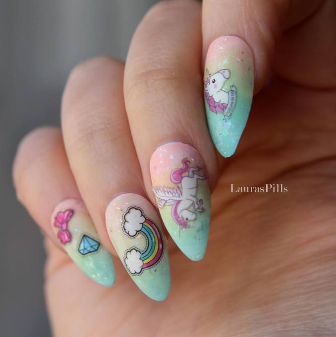 Bright nail art with a unicorn: stylish ideas for manicure in the photo and how to do it 8