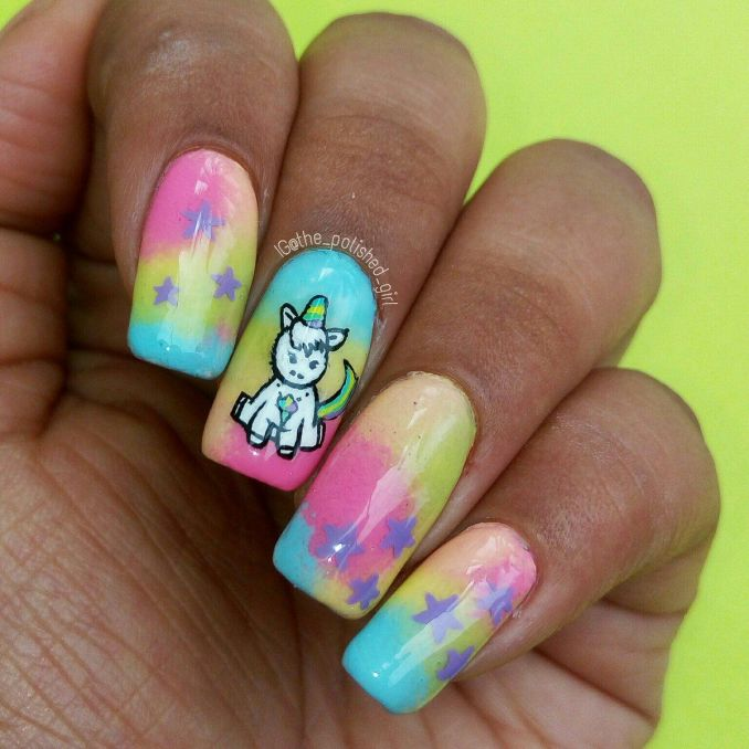 Bright nail art with a unicorn: stylish ideas for manicure in the photo and how to do it 15