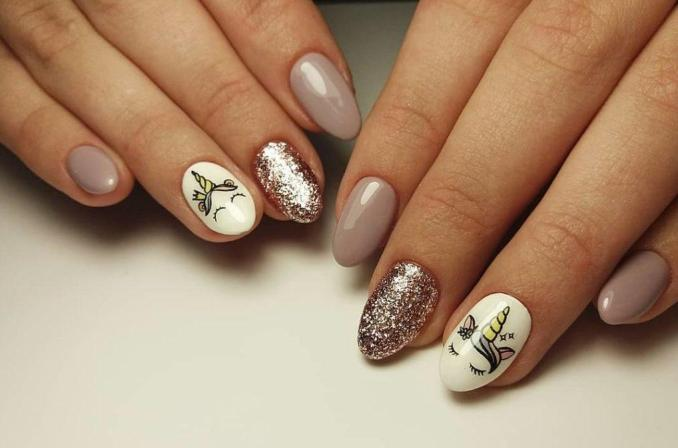 Bright nail art with a unicorn: stylish ideas for manicure in the photo and how to do it 74