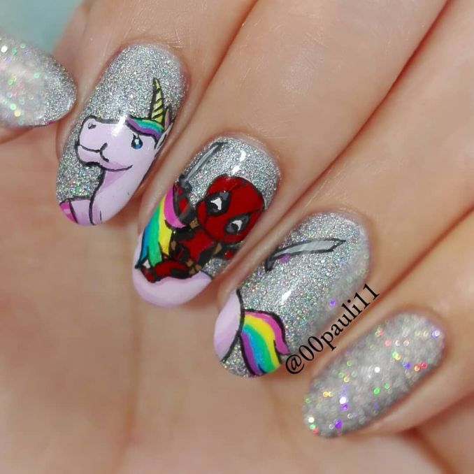 Bright nail art with a unicorn: stylish ideas for manicure in the photo and how to do it 34