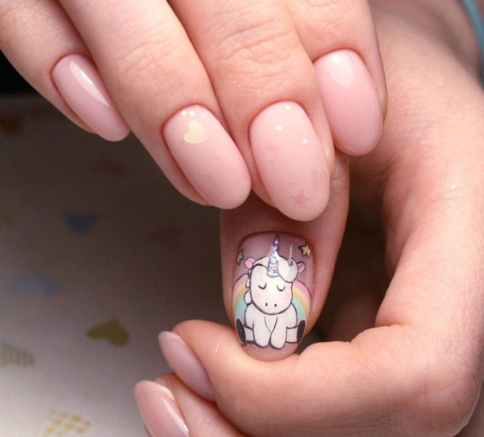 Bright nail art with a unicorn: stylish ideas for manicure in the photo and how to do it 75