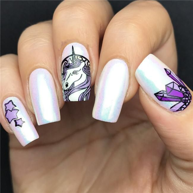 Bright nail art with a unicorn: stylish ideas for manicure in the photo and how to do it 108