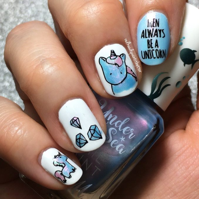 Bright nail art with a unicorn: stylish ideas for manicure in the photo and how to do it 16
