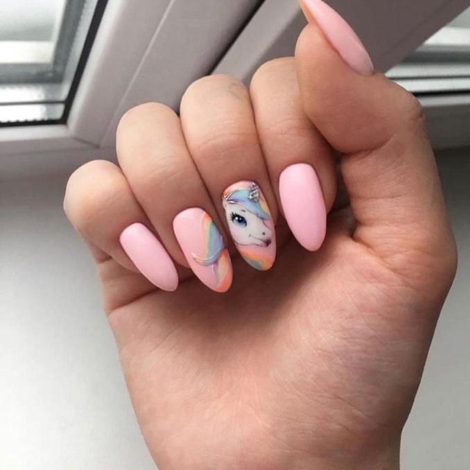 Bright nail art with a unicorn: stylish ideas for manicure in the photo and how to do it 79