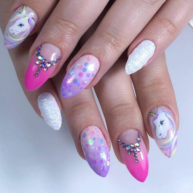Bright nail art with a unicorn: stylish ideas for manicure in the photo and how to do it 80
