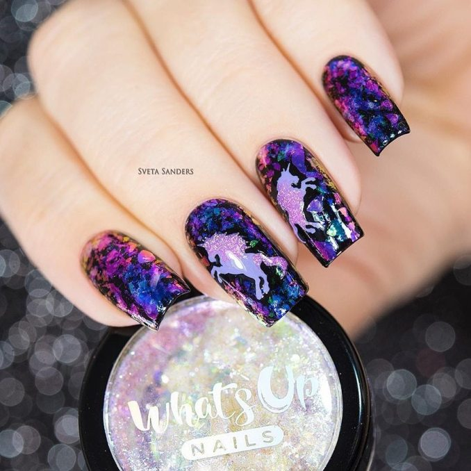 Bright nail art with a unicorn: stylish ideas for manicure in the photo and how to do it 95