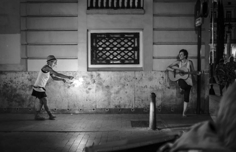 Street Artists, Fire and Guitar, Valencia, Summer 2014 - Street Photography (monochrome)