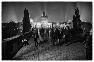 Night on Charles Bridge, Prague.