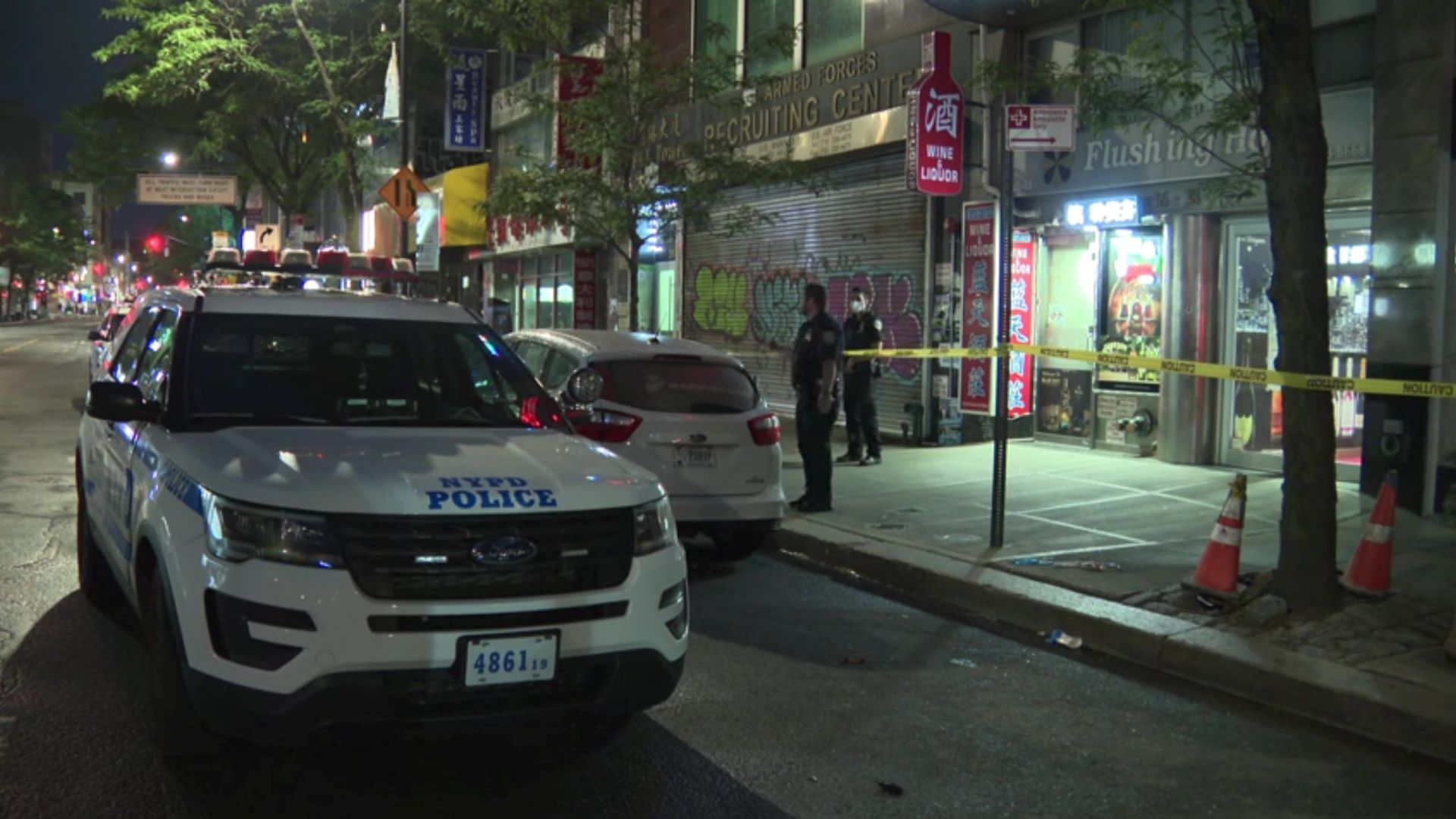 Scene at the Flushing Hotel after a woman was stabbed