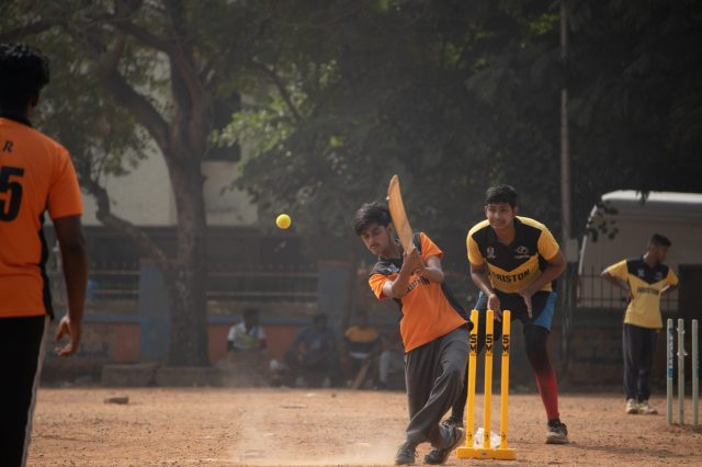 Batsman hitting a ball