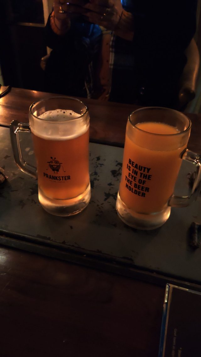 Beer mugs on a table