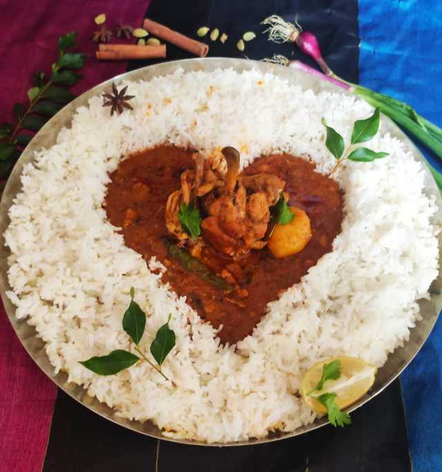 Bengali chicken curry plate