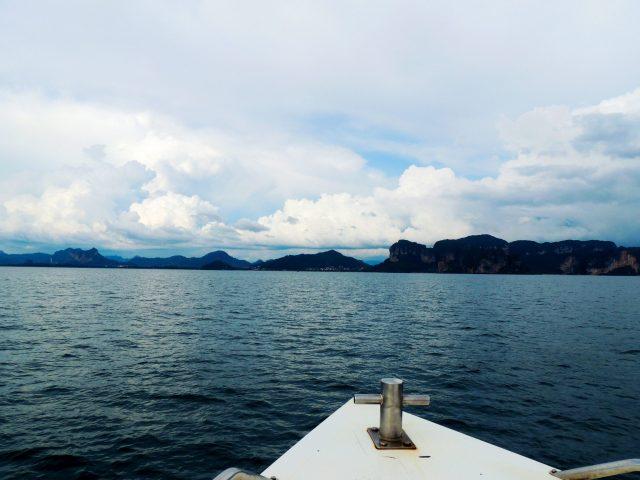 A boat approaching an island