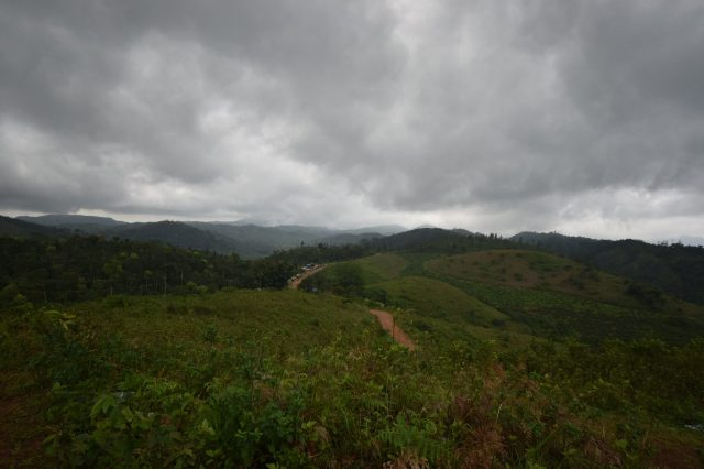 Clouds over a hilly area