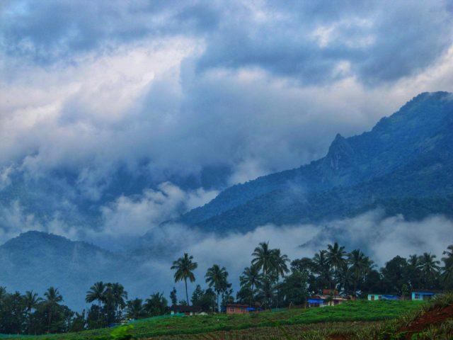 Aesthetic green mountains in Kerala.