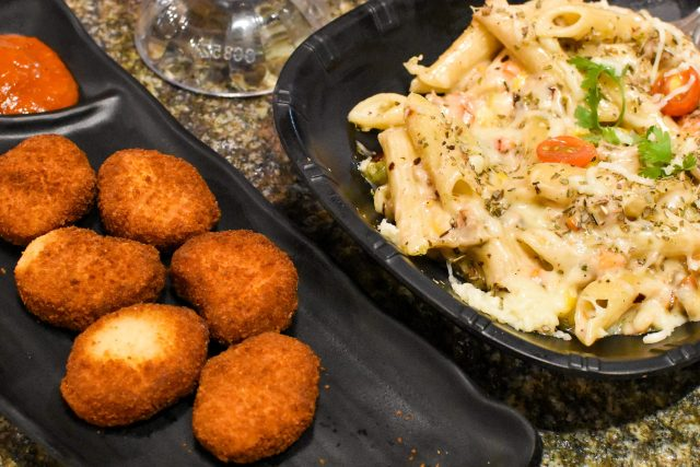 Bread cutlet and pasta appetizer