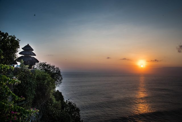 Compelling sunset at Uluwatu temple, Indonesia.