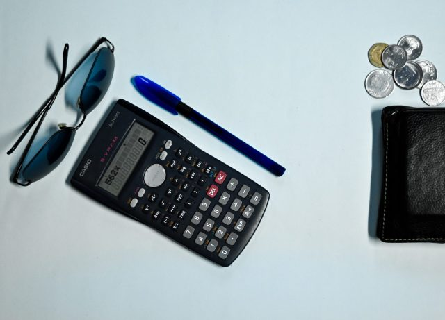calculator, shades, pen, wallet and coins
