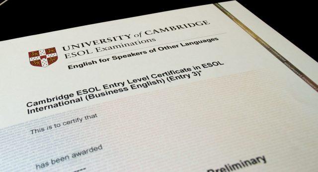 Cambridge university certificate