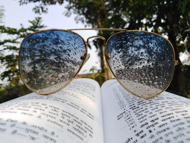 water drops on sunglasses