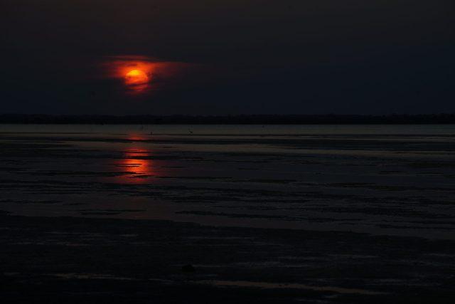 Darkness of sunset